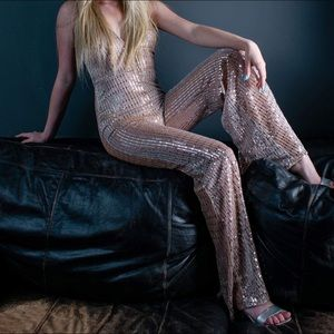 Rose gold sparkly jumpsuit